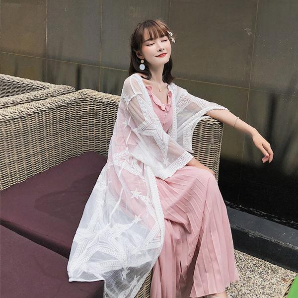 PS Mall 網紗星星刺繡透視輕盈長款防曬衣蕾絲衫罩衫 上衣 【T354】 0