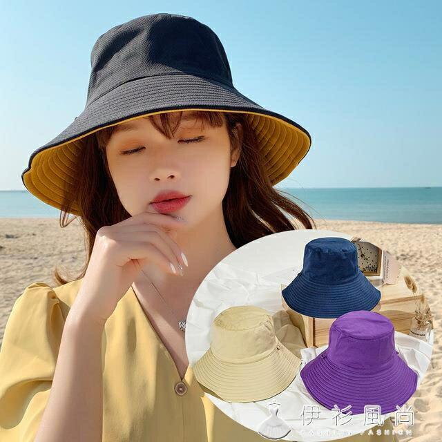漁夫帽子女雙面戴夏季韓版防曬遮臉時尚百搭日系大沿防曬遮陽帽