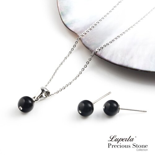 大東山珠寶 璀璨永恆 黑瑪瑙晶鑽項鍊套組