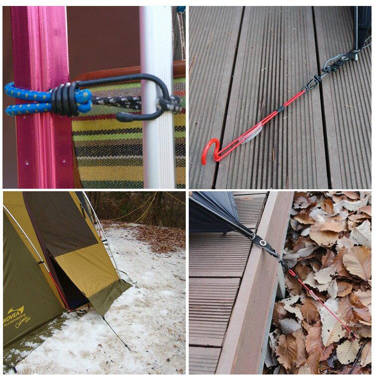 戶外野營帳篷鬆緊繩扣 固定捆綁帶 彈力繩 掛鉤 露營天幕配件 拉繩 15cm
