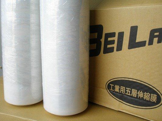 透明棧板膜 工業保鮮膜 PE膜 縮收膜(寬50cmX250m米) / 一箱4大卷入 { 定400 } 工業膠膜 打包膜 包裝束膜 收縮膜(無背膠)~明17*500 A1 6