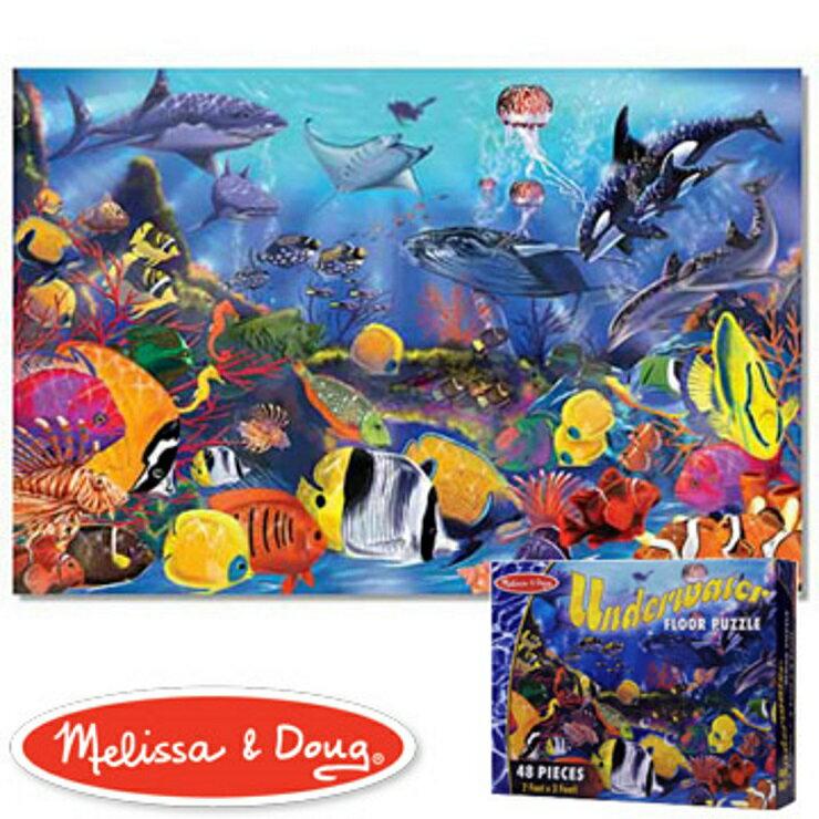 美國瑪莉莎 Melissa & Doug 大型地板拼圖熱帶海洋,48 片 - 限時優惠好康折扣
