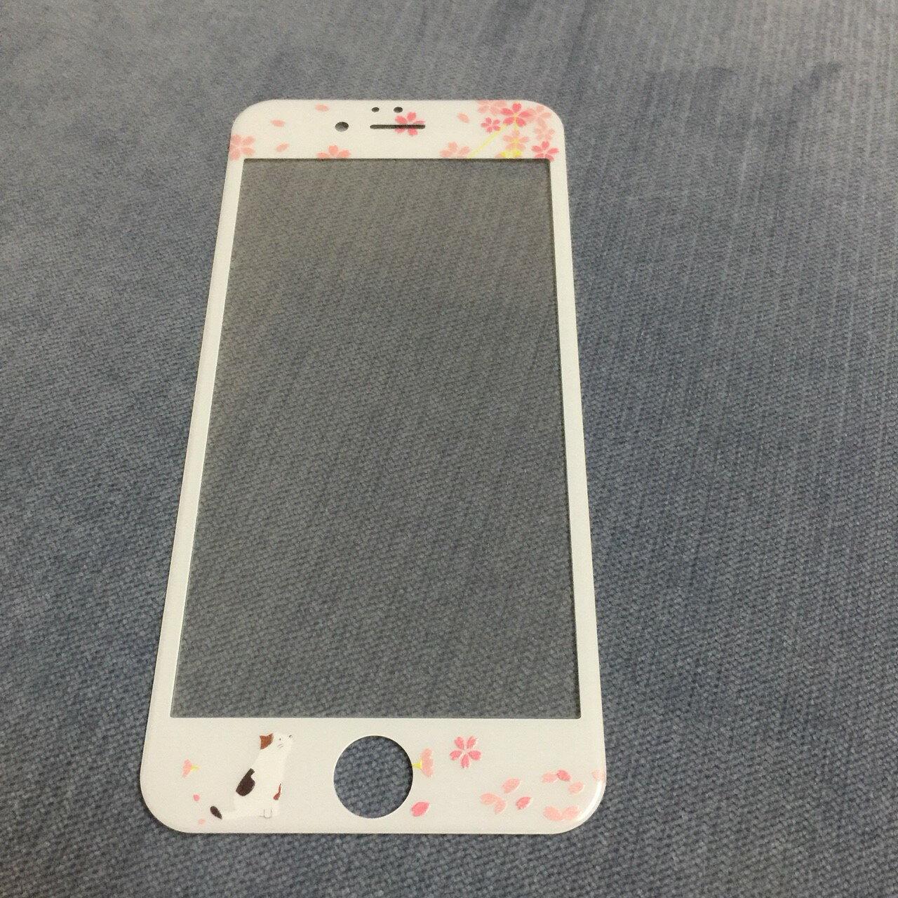 iPhone i6 I6s i6plus i7 i7plus 櫻花 全屏保護貼 3D卡通 超薄9h鋼化膜 彩膜 手機螢幕貼【GP美貼】