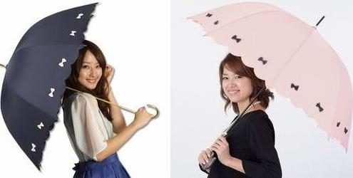 ArielWish日本雜誌香里奈推薦Pink Trick晴雨兩用甜美蝴蝶結直立傘直傘雨傘陽傘掛勾把手抗UV深藍色-絕版品