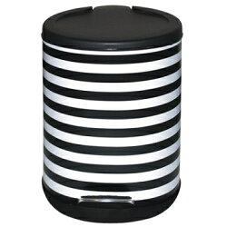 【家簡塵除】黑白條紋腳踏式垃圾桶(5L)