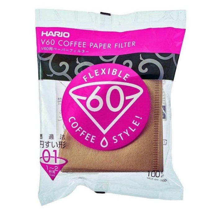 【沐湛咖啡】HARIO 原裝V60錐形 無漂白濾紙 VCF-01-100M(1~2人) 圓錐濾紙 VDC-01濾杯可用