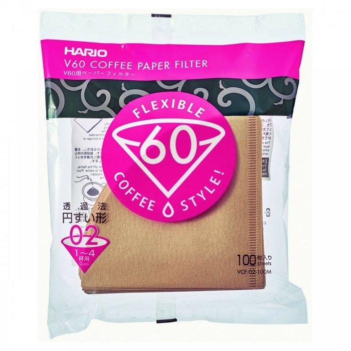 【沐湛咖啡】HARIO V60錐形 無漂白濾紙 VCF-02-100M(1~4人) 圓錐濾紙 VDC-02濾杯可用
