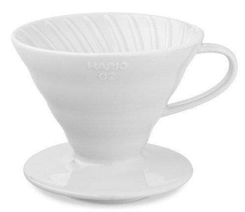 【沐湛咖啡】日本進口 HARIO VDC-02W 陶瓷錐形濾杯 附咖啡匙 (白色)手沖濾器