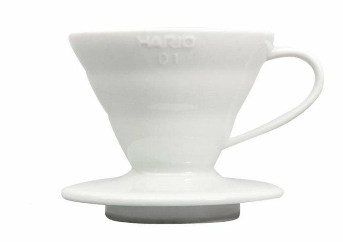 【沐湛咖啡】日本進口 HARIO VDC-01W 1-2人陶瓷錐形濾杯 附咖啡匙 (白色) 手沖濾器 1