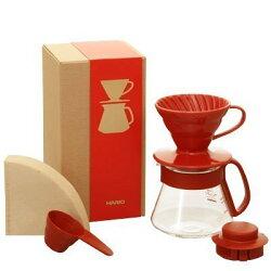 【沐湛咖啡】日本 HARIO 咖啡濾器組合 V60 同色系紀念款 VDS-3012R (紅) 陶瓷濾杯+耐熱玻璃壺+濾紙