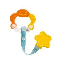 婦嬰用品-嬰兒用品推薦Richell利其爾 - 固齒器 橘黃色有聲音 (附固定夾) 【好窩生活節】。就在小奶娃婦幼用品婦嬰用品-嬰兒用品推薦