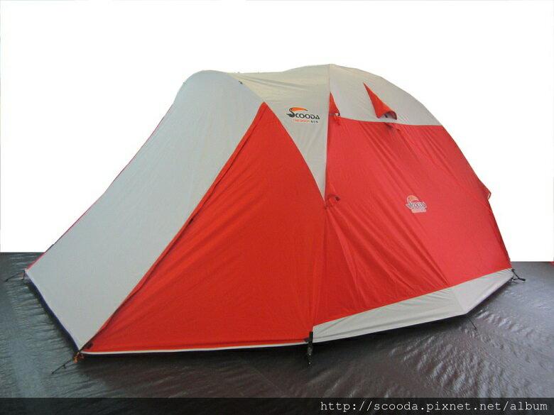 【【蘋果戶外】】速可搭 挪威森林 橘 YK-001 Scooda 贈鋁箔墊防水地布 5~6人270x270銀膠帳篷 露營帳篷 六人帳篷 家庭帳篷