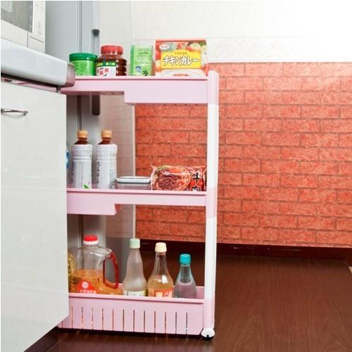 《收納家》12.5cm三層式高低收納隙縫櫃 (附滑輪)-粉色