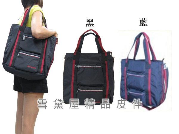 ~雪黛屋~KAWASAKI托特包大容量可A4資料夾8吋平板手提袋可手提肩背斜側背附長背帶購物袋男女全齡適用HKA191