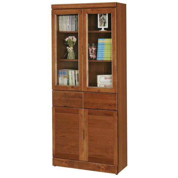 書櫃 有門書櫃 附抽書櫃 大型書櫃 收納櫃 櫥櫃 展示櫃 置物櫃 收納櫃《Yostyle》歐文柚木中抽書櫃