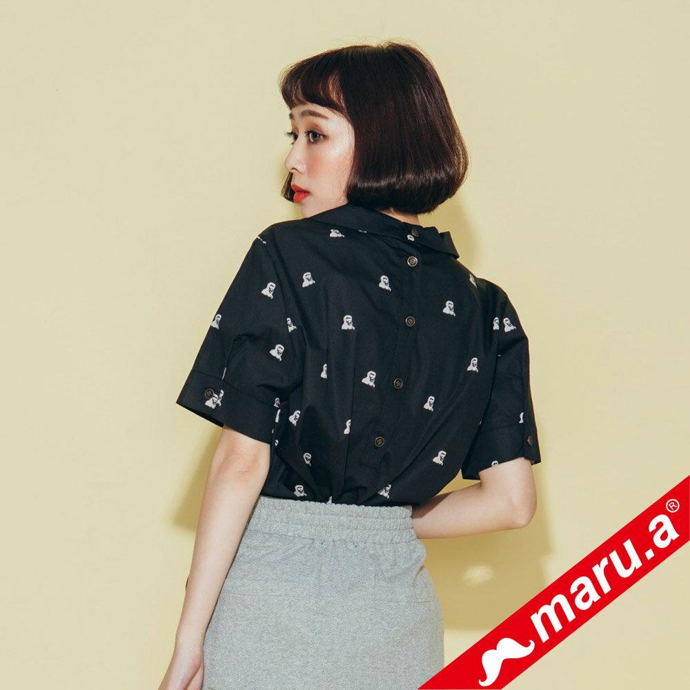 【maru.a】領子刺繡滿版印花襯衫(2色)8323118 2