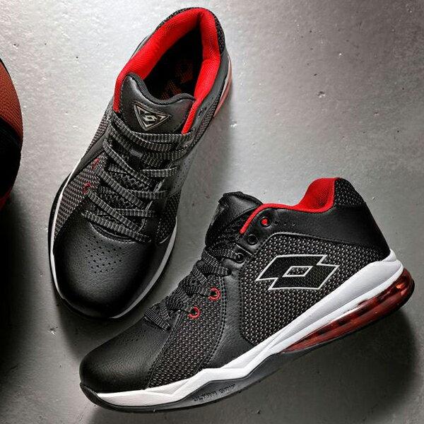 【巷子屋】義大利第一品牌-LOTTO樂得 男款Vortex 旋風乳膠避震氣墊籃球鞋 [5771] 黑紅 超值價$1150免運