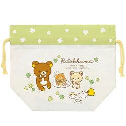【日本進口】San-X 拉拉熊 日本製 寬口 束口袋 收納袋 抽繩束口袋 懶懶熊 Rilakkuma - 677455