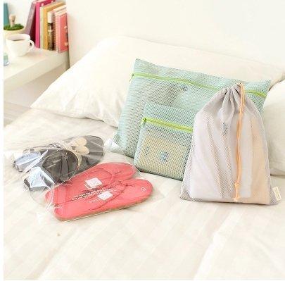 ►加價購◄ 尼龍網狀納袋4件組 拉鍊網袋~2 束口網袋~1 透明夾鏈袋~1  ~真愛香水~