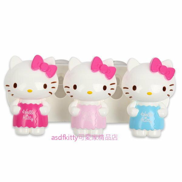 asdfkitty可愛家☆KITTY浴巾造型吸盤牙刷架-1組3格-韓國製