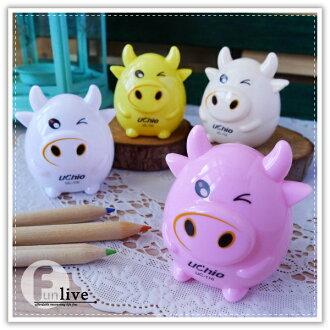 【aife life】小牛雙孔削鉛筆機/動物造型 療癒小物 簡易型削鉛筆器/色鉛筆/木頭鉛筆/辦公文具用品/贈品禮品