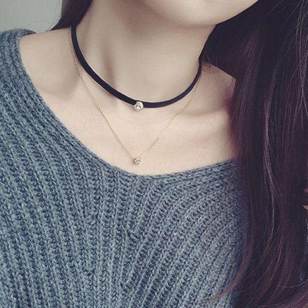 PS Mall  她很漂亮精緻簡約 雙層皮頸鏈鋯石短項鍊女~G1976~