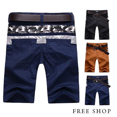 Free Shop~QR03070~日韓風格後側腰間迷彩皮質撞色拼接素面休閒短褲工作短褲‧