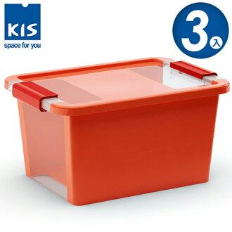 E&J【012012-03】義大利 KIS BI BOX 單開收納箱 S 橘色 3入;收納盒/整理箱/收納櫃/無印風