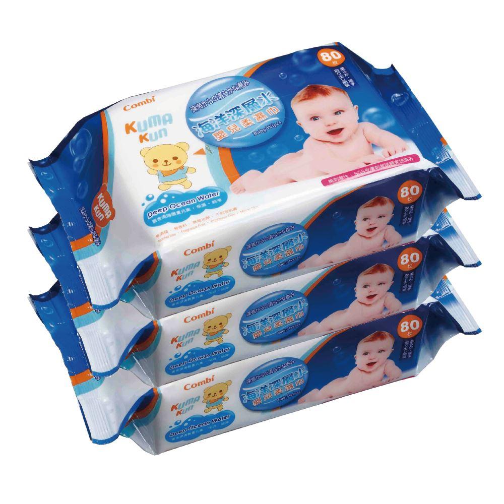 Combi Kuma Kun海洋深層水嬰兒柔濕巾(80抽24包入)【甜蜜家族】