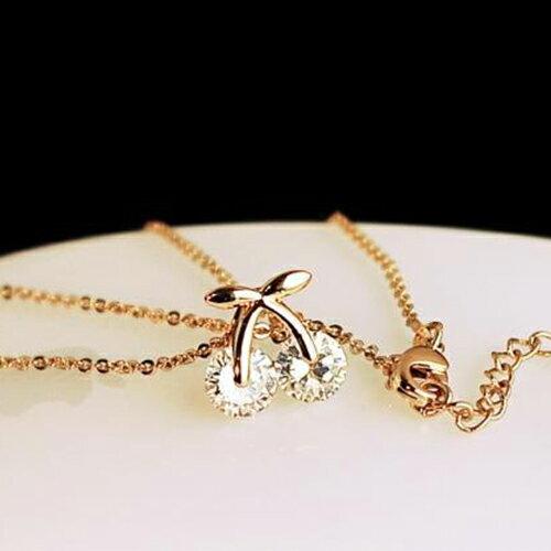 項鍊 - 韓版可愛櫻桃鑽石鎖骨鏈【21543】 藍色巴黎 - 現貨+預購  【防過敏】 2