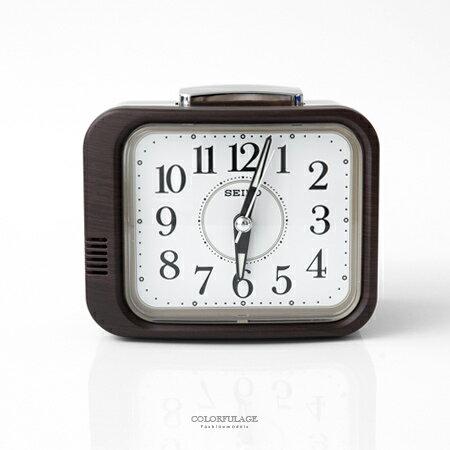SEIKO精工鬧鐘 方形深咖木紋設計桌鐘 滑動式靜音秒針 指針夜光功能 柒彩年代【NV5】原廠公司貨 - 限時優惠好康折扣