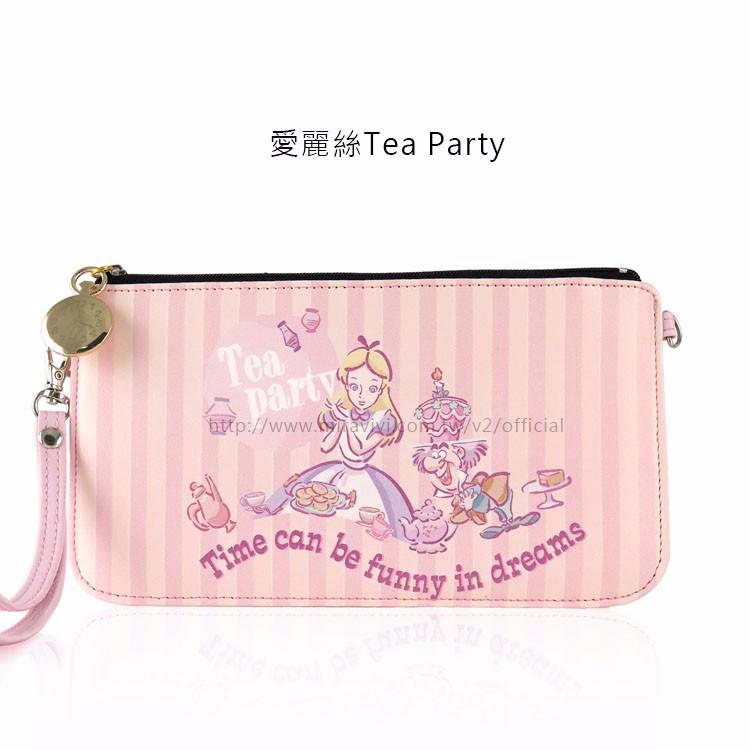 ☪Disney迪士尼愛麗絲夢遊仙境妙妙貓橫式手機袋手拿包萬用袋