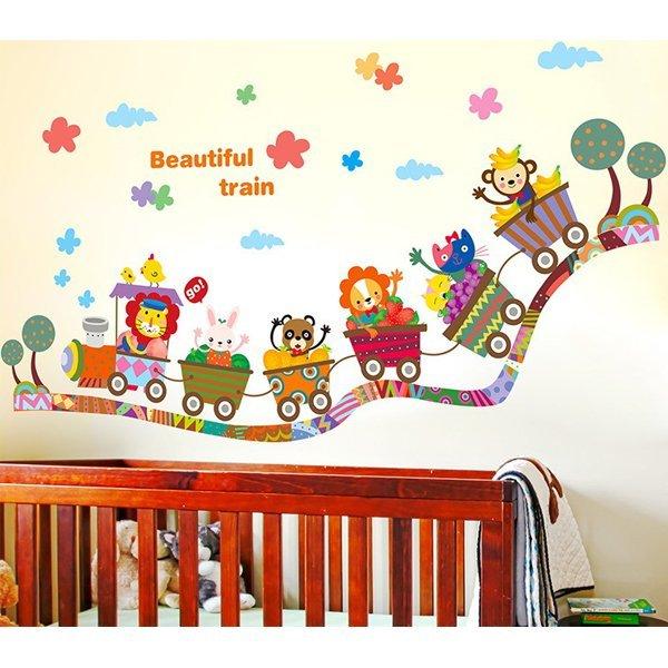 BO雜貨:BO雜貨【YV0640】DIY時尚裝飾組合可移動壁貼牆貼壁貼創意壁貼動物小火車DLX0335
