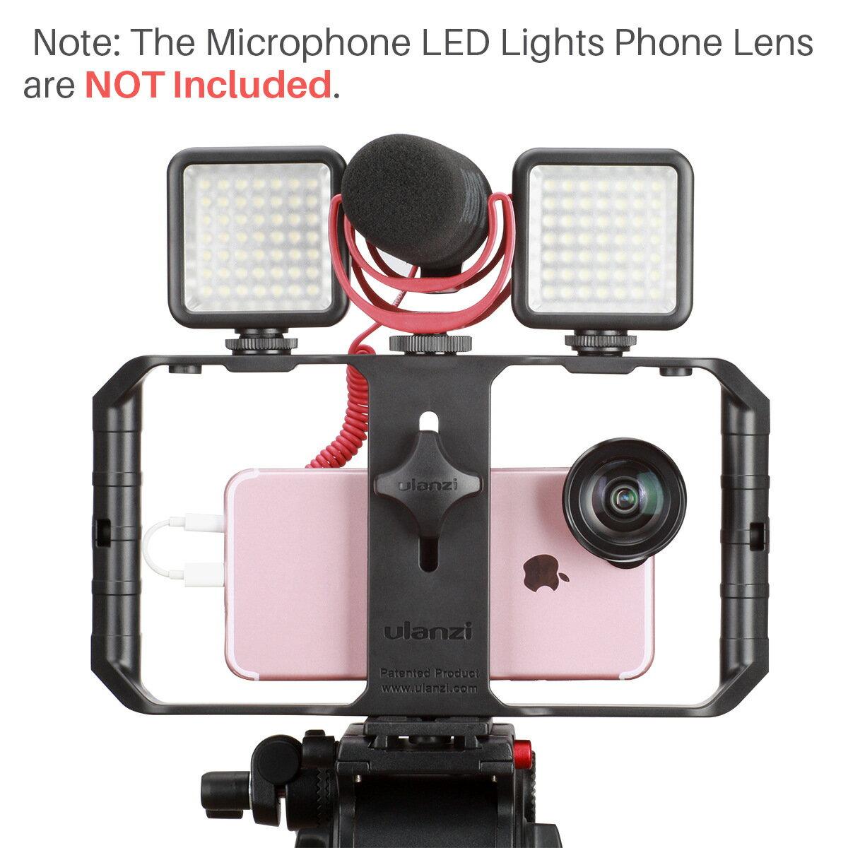 [享樂攝影]ulanzi U-Rig Pro 三熱靴座 手機錄影穩定支架 手機直播穩定器 可擴充麥克風/LED燈/補光燈 含3個1/4吋螺絲孔 冷靴