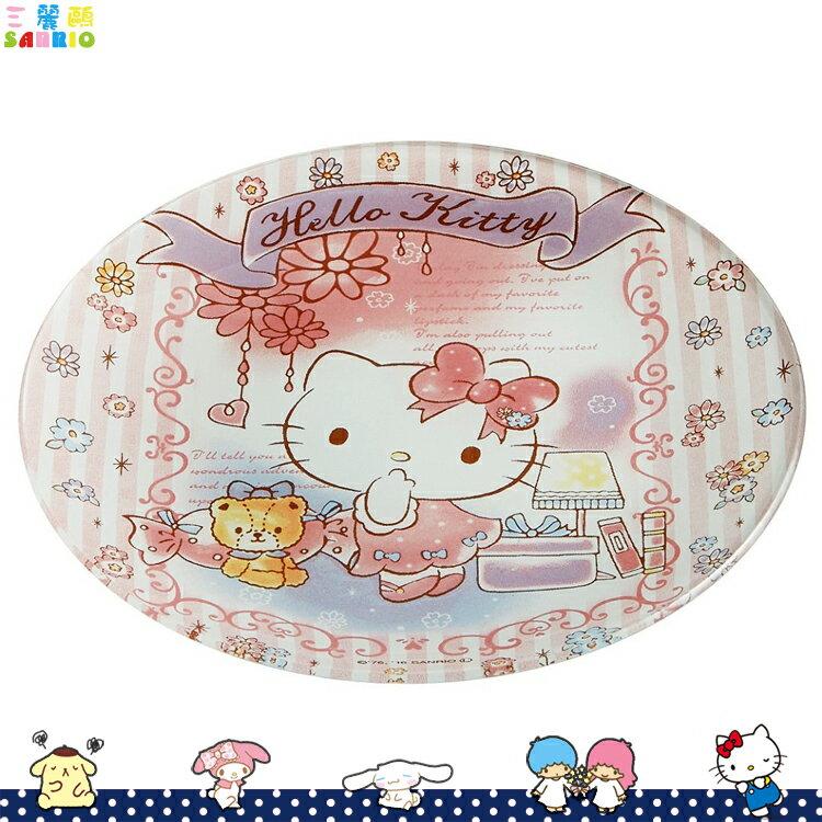 凱蒂貓Hello Kitty 玻璃盤 圓盤 盤子 凱蒂貓 洋裝 小花 點心盤 日本進口正版 344541