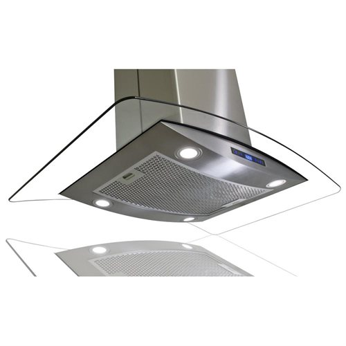 "AKDY 30"" AK-688ICS14-75CF Stainless Steel Island Range Hood Carbon Filter Included For Ventless/Ductless Options 2"