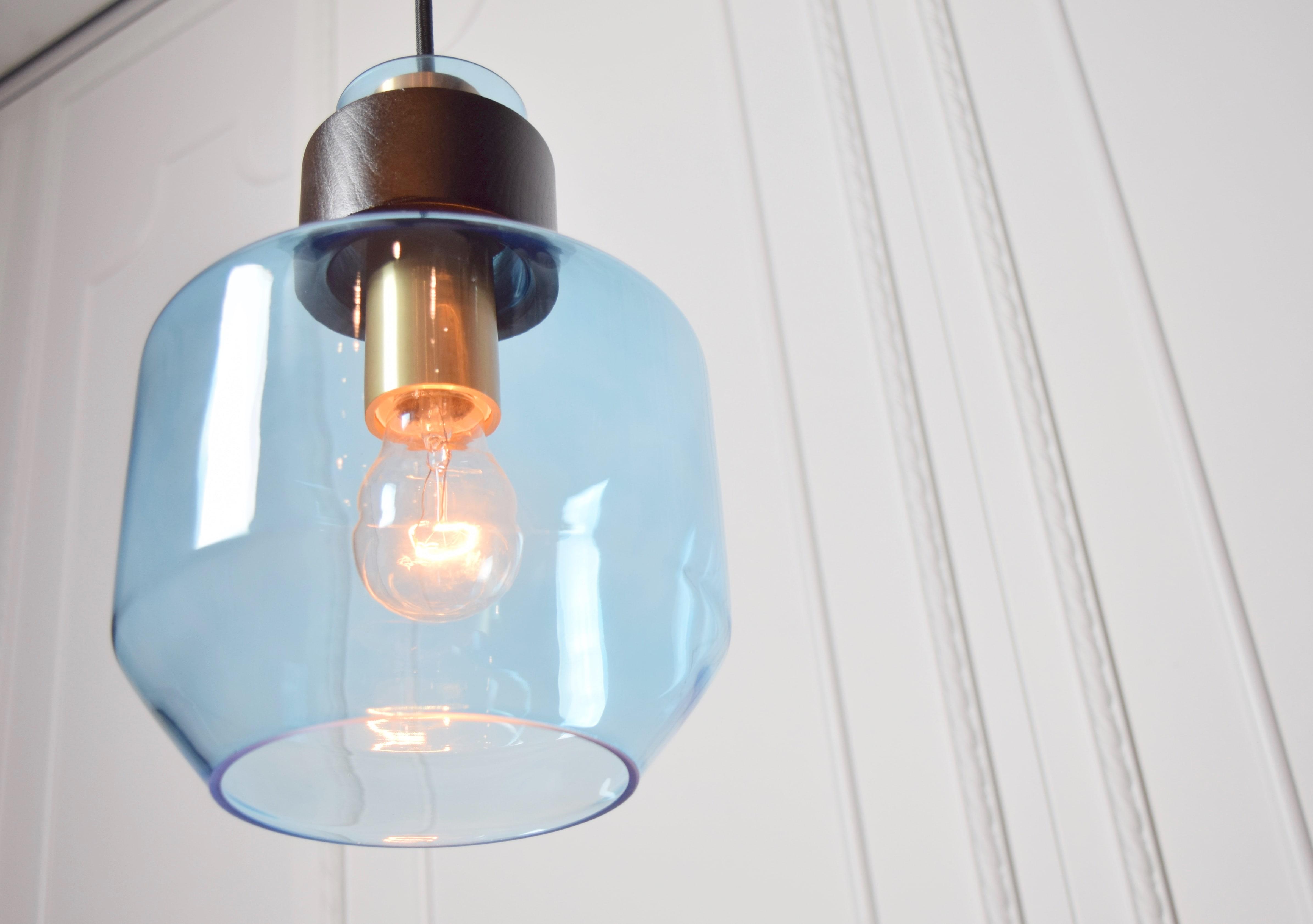水藍色寬酒瓶造型吊燈-BNL00122 2