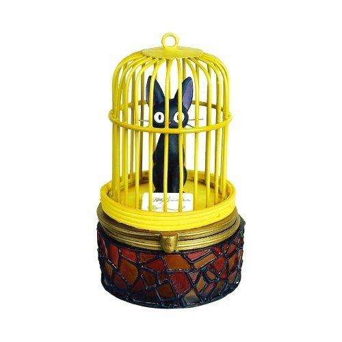 【真愛日本】5052100015 七彩琉璃盒-黑貓鳥籠 魔女宅急便 黑貓 奇奇貓 戒指盒 擺飾 收藏 日本帶回
