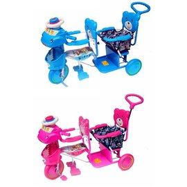 ~淘氣寶寶~324 全配雙人手控三輪車^(藍 粉^)~ 生產 ~ 有 ~