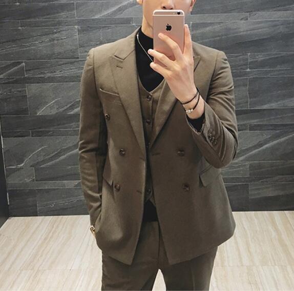 FINDSENSE品牌 韓國男 休閒 雙排扣 小西裝 修身西裝 西裝外套 單件外套