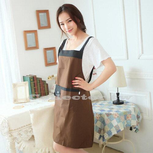 【N15111801】韓版肩帶式無袖家居圍裙 純色防水防油簡約時尚圍裙