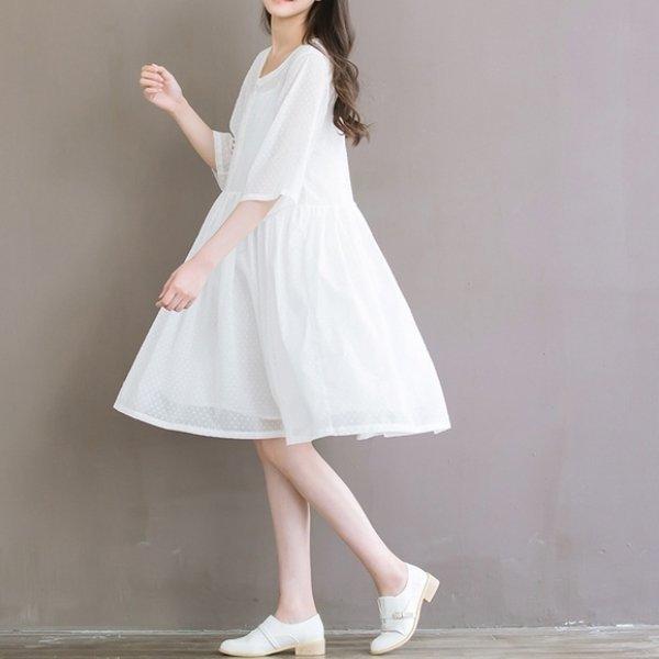 *漂亮小媽咪*輕紗點點文藝簡約兩件式中袖傘狀孕婦裝七分袖孕婦連衣裙D8621