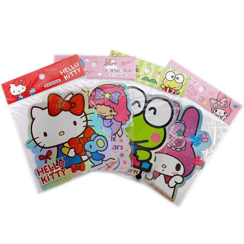 三麗鷗 雷射造型貼紙 Hello Kitty /一張入(促25) sanrio 凱蒂貓 大眼蛙 美樂蒂 雙子星 卡通貼紙 正版授權 K0321350-瑋