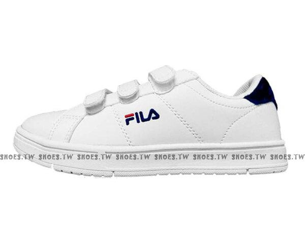 Shoestw【5C905S113】FILACOURTDELUXE三代甜品鞋魔鬼氈皮革毛絨白深藍女生尺寸