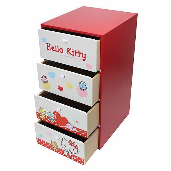 【真愛日本】18080200012直式四抽收納盒-KT小熊紅收納盒置物盒小抽屜抽屜盒居家收納小熊kitty凱蒂貓