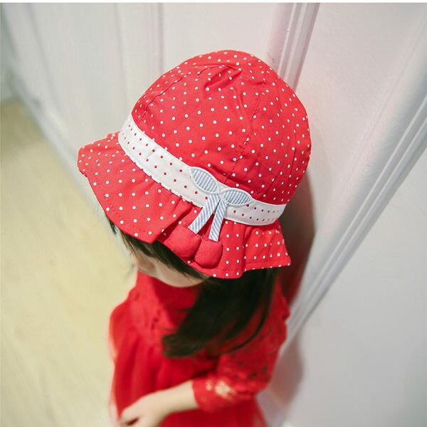 EMMA商城^~外貿原單紅色點點櫻桃女童荷葉邊遮陽帽兒童春夏帽子太陽帽
