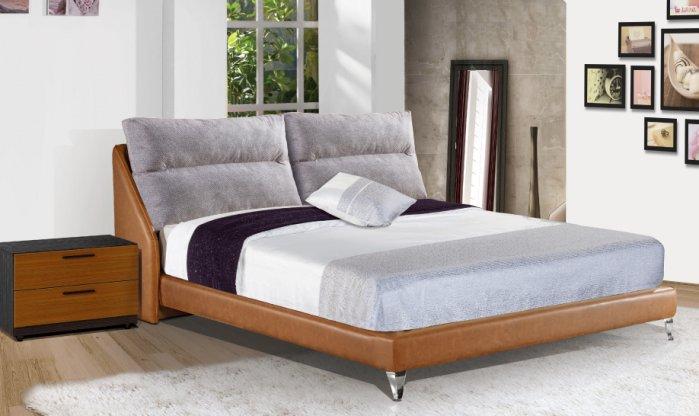 【尚品傢俱】JF-084-4 露易莎6尺淺咖啡皮雙人床(不含床墊)