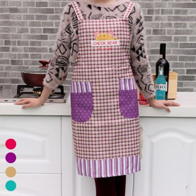 居家必備 韓可愛小熊吊帶格子圍裙 工作服 廚房 廁所 過年大掃除 清潔 【SV3001】快樂生活網