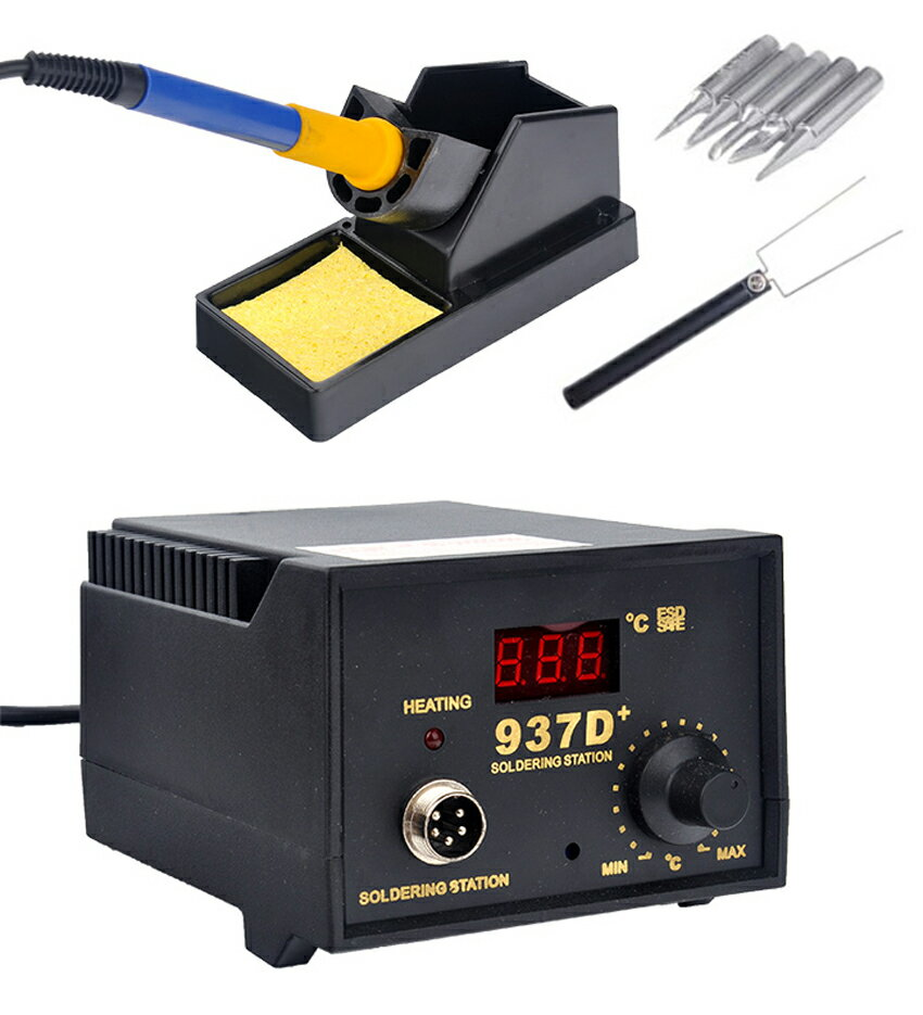 Hot 937D+ Soldering Station JP Heater Iron Welding Solder SMD Tool 5 Tips Stand ESD 7