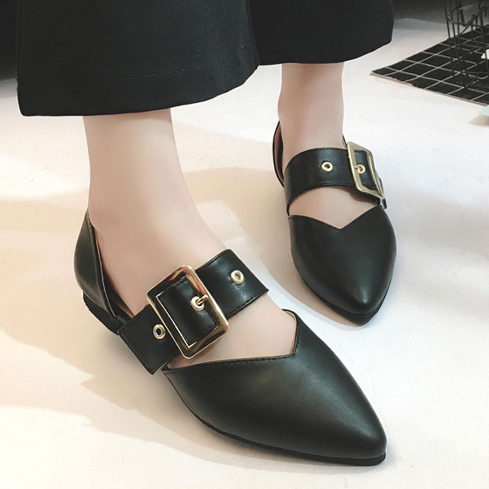 平底鞋 側空淺口皮帶扣尖頭平底鞋【S1684】☆雙兒網☆ 4